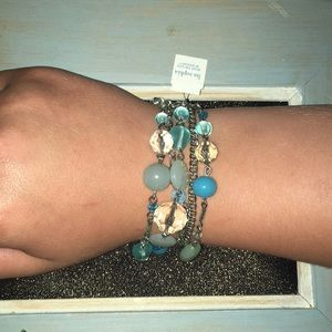 Coastal blues bead bracelet